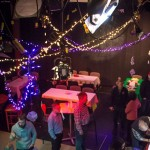 Studio K decorated for party or event with room for up to 100 (standing).