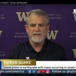 UW Professor Paul Bodin discusses an earthquake on CGTN America in a live shot from Studio P.