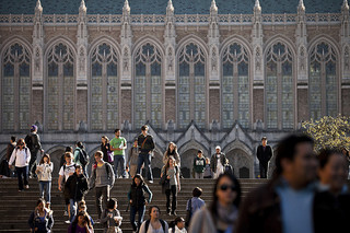 The steps in front of Suzzallo library, busy with students and other university members.