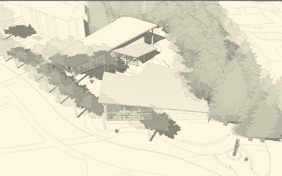 An artist's rendering of the planned Intellectual House as seen from the air.