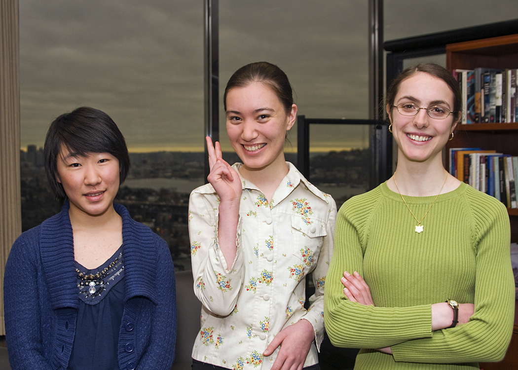 From left, the medalists are Jennifer Kang, freshman; Gracie Ingermanson, sophomore and Krysta Yousoufian, junior.