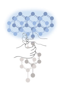 An illustration of how nanotechnology can steer molecules to react in a particular way.