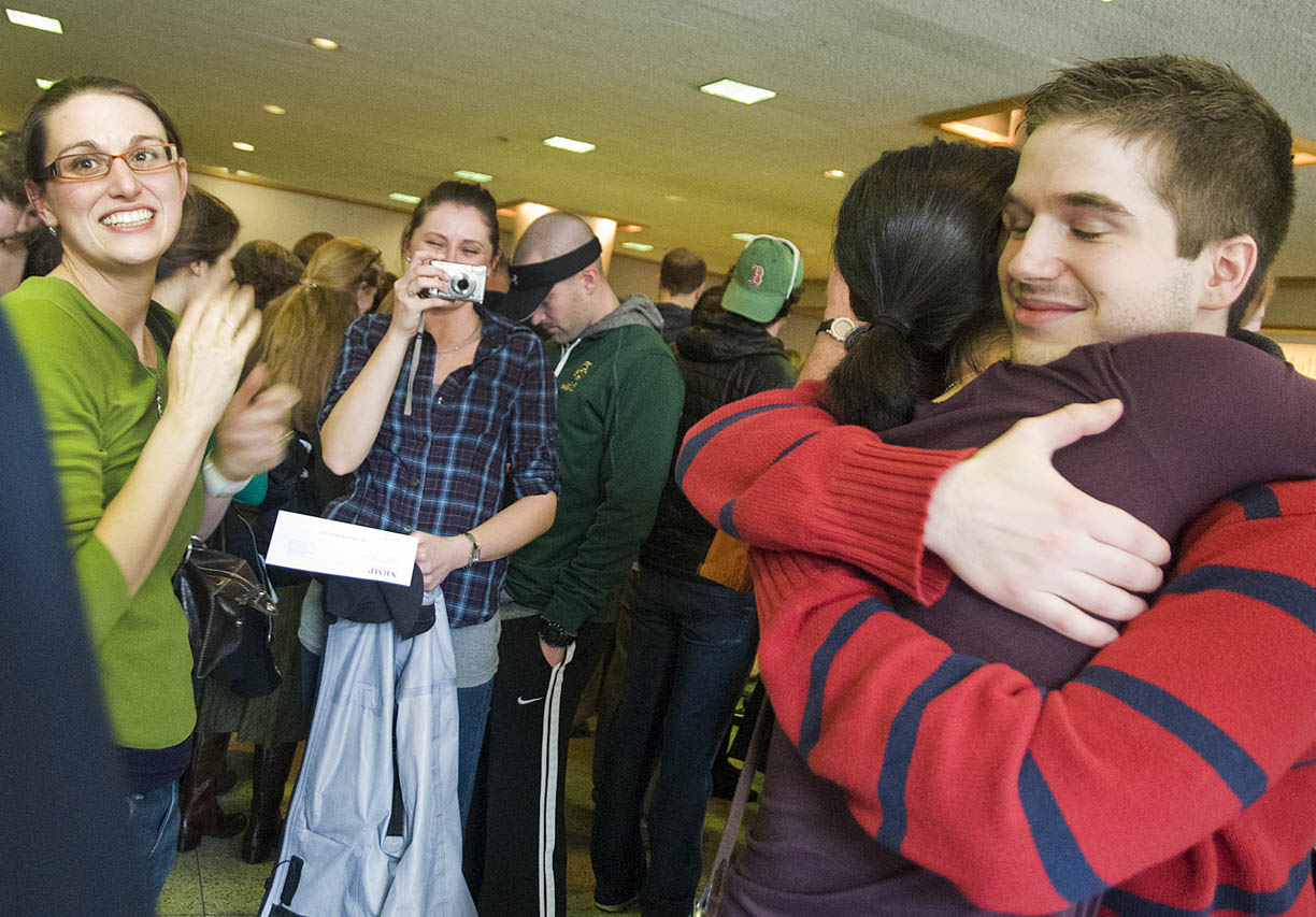 Hugs, photos, and congratulations were the order of the day March 17 when graduating medical students received residency placement notices.