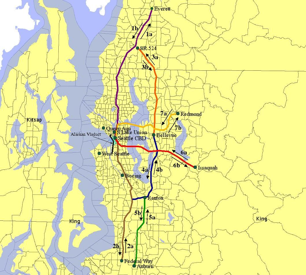The study also considered the effects on 14 routes, shown here, that do not include the viaduct.