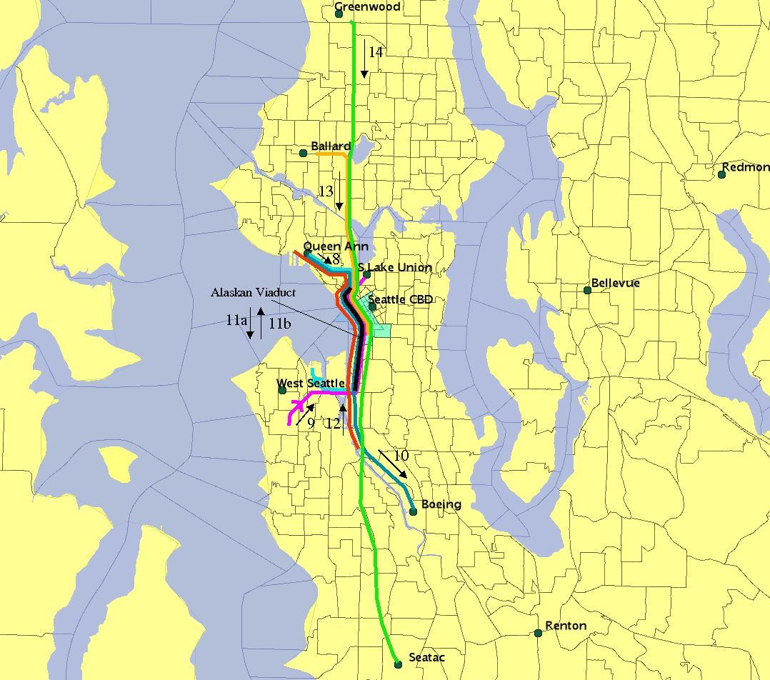 Researchers looked at eight routes that currently include the Alaskan Way Viaduct.