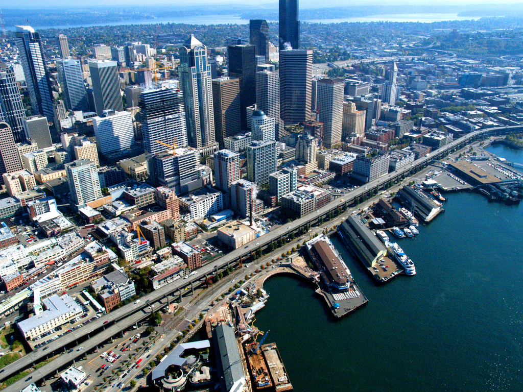 The Alaskan Way Viaduct now carries traffic along Seattle's waterfront. It is slated for demolition.