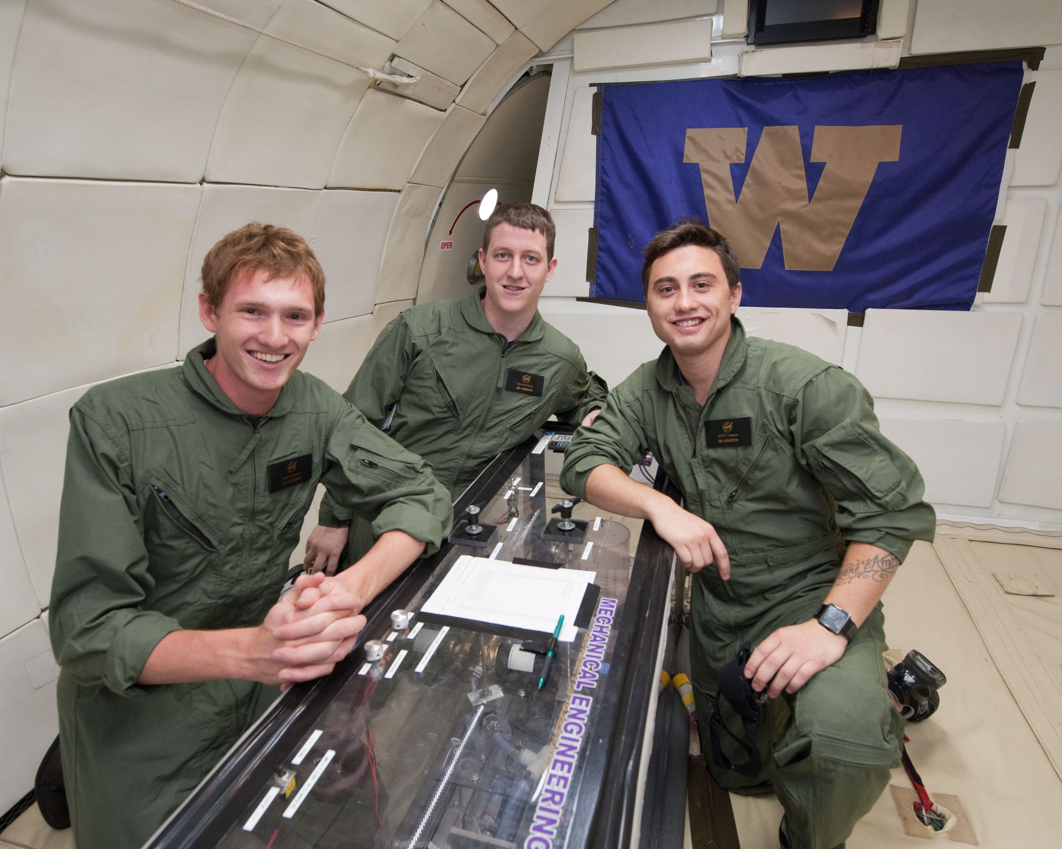 A crew of three students flew on each of the two experimental flights. The second UW crew included seniors Luke Jensen, Sean Stoker and Scott Tandoi.