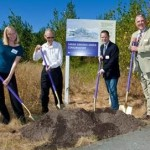 On hand for the conservatory groundbreaking were, from left, Community Liaison for U.S. Rep. Jay Inslee Kelly Marquardt, conservatory benefactor Gordon Green, Bothell Mayor Mark Lamb and UW Bothell Vice Chancellor Richard Penny.