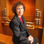 Music Professor Carole Terry at the Littlefield organ.