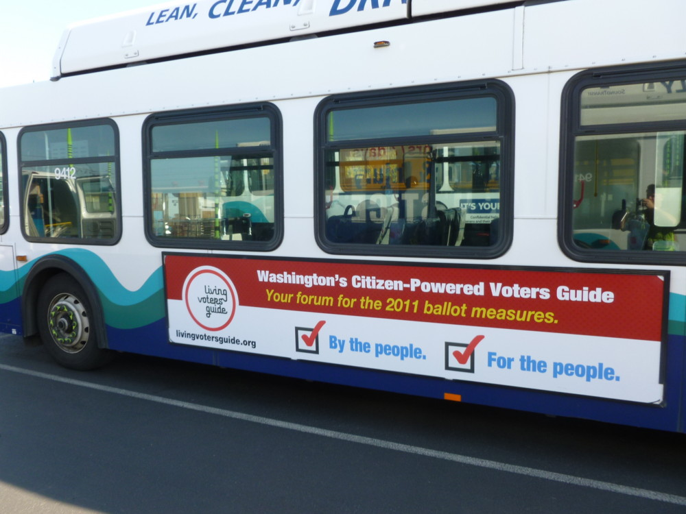 Ads for the Living Voters Guide have been mounted on Metro Transit buses.