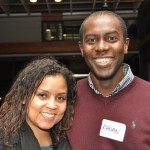 UW graduate students Rhoan Garnett and Roxanne Christian attend Getting Connected, a reception for underrepresented graduate students of color which is hosted each fall by the Graduate Schools Graduate Opportunities & Minority Achievement Program.