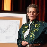 Dr. Grandin giving a talk at a Colorado State University celebration in her honor.