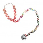 A stethoscope in the shape of a DNA double helix
