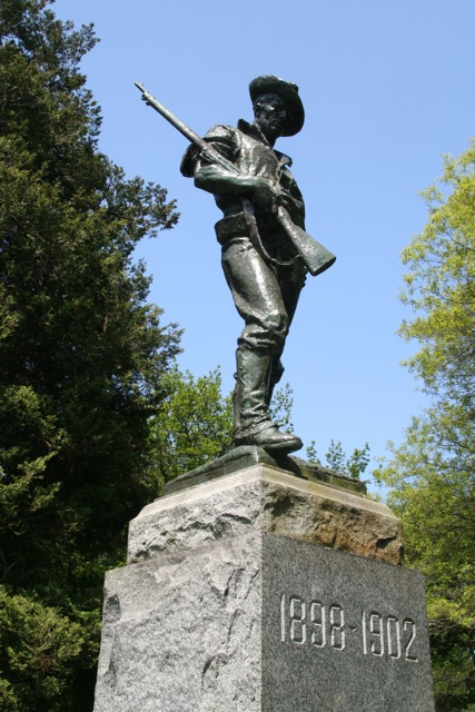 The Hiker Memorial statue in Woodland Park was erected in 1924 by veterans of the Spanish-American War.