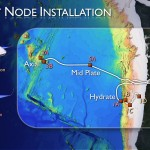 1A marks the first node installed, at Hydrate Ridge. 1C and 1D indicate the Endurance Array site. The placeholder node, in the middle of the Juan de Fuca Plate, is 5A. Node drawings courtesy of L-3 MariPro.