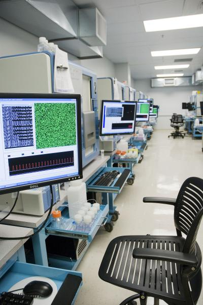 An exome sequencing lab in the UW Department of Genome Sciences.
