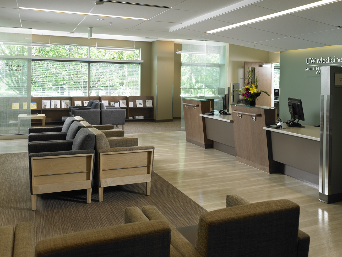 The lobby of the new UW Medicine Multiple Sclerosis Center at Northwest Hospital.