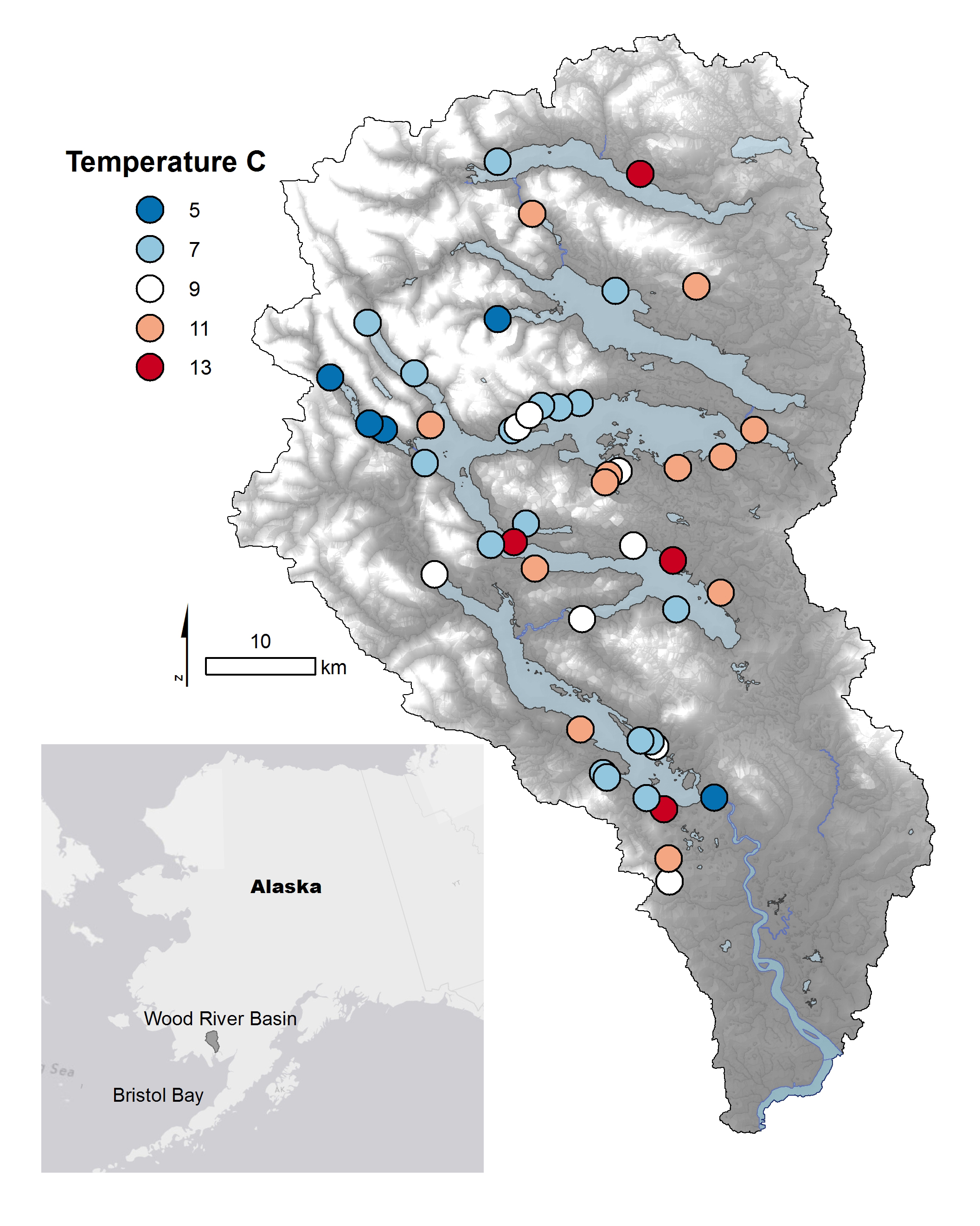 Watershed dotted with streams of different temperatures in Alaska