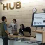 The new HUB reception desk.