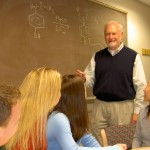 Dr.  Sid Nelson enjoyed teaching medicinal chemistry to second-year pharmacy students,