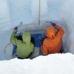 Scientists taking snow samples in Greenland.
