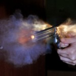 Bullet shot from a revolver releases