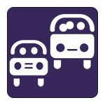 Drawing of two cars with passengers on purple background