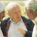 Roy Prosterman with an Egyptian farmer and a government official
