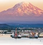 Waterfront with tugs, Mount Rainer in background