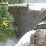 photo of dam with missing chunk
