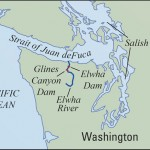 The Elwha Dam was built seven miles from the sea, and the Glines Canyon Dam was eight miles further upriver. Both are located in the Olympic National Park.