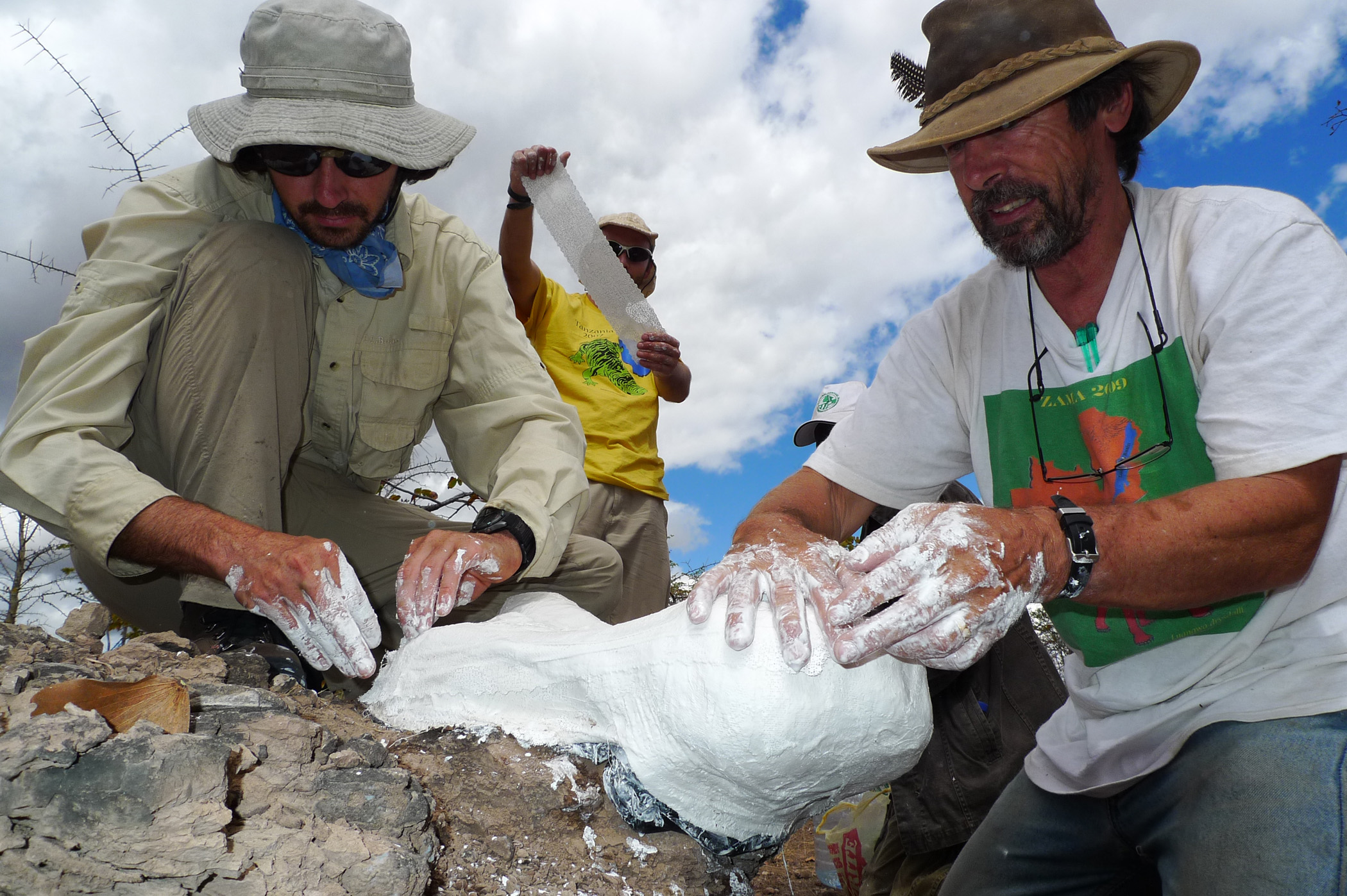 Three men create mold around fossiil sticking out of rock.