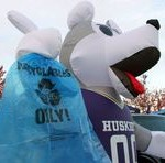 Person in Husky Dog suit holds recycle bag in paw