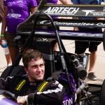 Patrick Sodt prepares to drive.