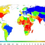 World map gives graphic representation of population changes by 2100.