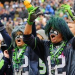 Two Seahawks fans cheer