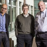 Steve Ballmer (right) with Bill Gates (center and Satya Nadella, Microsoft's three CEOs.