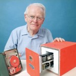 David Warren, with his prototype of a flight data recorder.