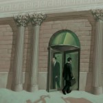 Men walk through revolving bank doors on cover of book