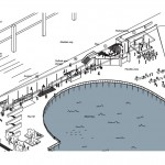 A drawing of the proposed Hotspot Pavilion on Seattle's waterfront, to be designed and built by UW architecture students. THe south end, to the right, will have a performance stage.