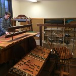 Charles Corey, research associate with the UW School of Music, plays the Bass Marimba, one of about 50 instruments invented by musical genius and eccentric Harry Partch (1901-1974) that now reside at the School of Music.
