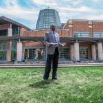UW Associate Vice President of Facilities Services Charles Kennedy speaks in front of the Physics/Astronomy Building.
