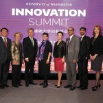 Speakers at the University of Washington's inaugural Innovation Summit, held November 13 in Shanghai, China. From left: Adina Mangubat, Jiande Chen, Chris Gregoire, Ralph Haupter, Ana Mari Cauce, Yuan Ming, Vikram Jandhyala, Shwetak Patel, Gina Neff and Ben Waters. (Not pictured: Wang Jian)