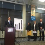 Gov. Jay Inslee, left, was joined by Monica Vavilala, director of the Harborview Injury Prevention and Research Center, left, and Jennifer Stuber, co-founder of Forefront: Innovations in Suicide Prevention.