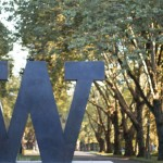 Photo by Katherine Turner. The Block W statue at the North entrance to the UW Seattle campus.