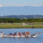 The Salmon Dancer Canoe Family paddles along the shorelines of Swinomish.