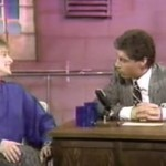"Comedian Ellen DeGeneres talks with host Ross Shafer on after a funny monologue in a 1985 episode of the Seattle comedy show ""Almost Live."" A report on Seattle's rich comedy broadcasting history is among the exhibits in the Seattle Television Project archive, created by Stephen Groening of the Department of Comparative Literature, Cinema & Media."