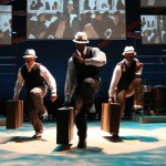 "A still from the dance troupe Step Afrika!'s production of ""The Migration: Reflections on Jacob Lawrence,"" to be performed Feb. 16-18 at Meany Hall."