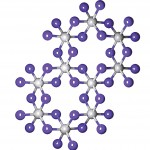 A top-view depiction of a single layer of CrI3. Chromium atoms are depicted in grey, with iodine atoms in purple.
