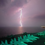 lightning over dark sea
